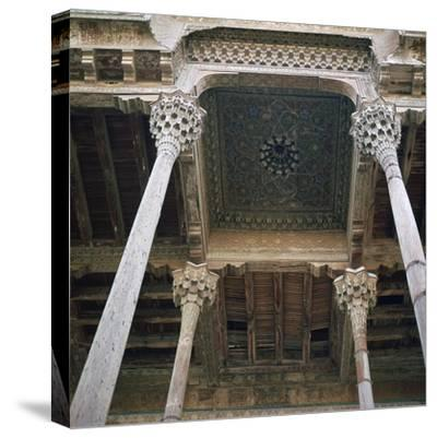 Mosque with wooden columns, 18th century. Artist: Unknown-Unknown-Stretched Canvas Print