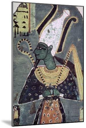 Wall painting of Osiris Khenti-Amentiu, from a tomb at Thebes. Artist: Unknown-Unknown-Mounted Giclee Print