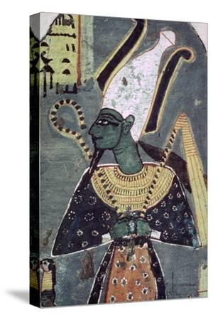 Wall painting of Osiris Khenti-Amentiu, from a tomb at Thebes. Artist: Unknown-Unknown-Stretched Canvas Print