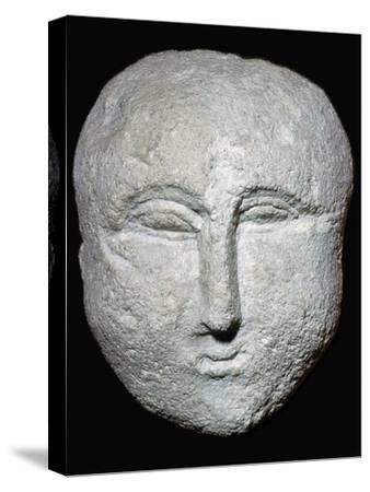 Stone ex-voto Roman head. Artist: Unknown-Unknown-Stretched Canvas Print