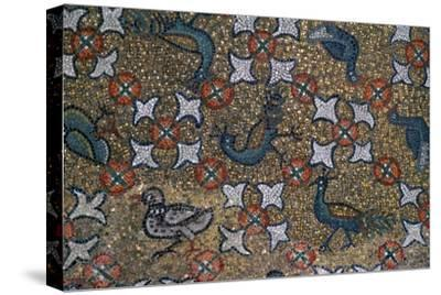 Roof mosaic of peacocks and other birds, 6th century. Artist: Unknown-Unknown-Stretched Canvas Print