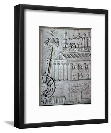 Roman relief of a crane being used. Artist: Unknown-Unknown-Framed Giclee Print