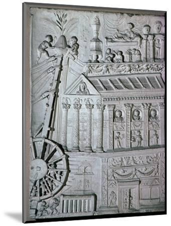 Roman relief of a crane being used. Artist: Unknown-Unknown-Mounted Giclee Print