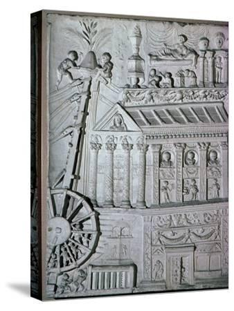 Roman relief of a crane being used. Artist: Unknown-Unknown-Stretched Canvas Print