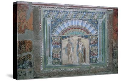 Roman mosaic of Neptune and Amphitrite, 1st century. Artist: Unknown-Unknown-Stretched Canvas Print