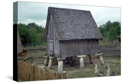 Reconstruction of a Celtic iron-age barn. Artist: Unknown-Unknown-Stretched Canvas Print