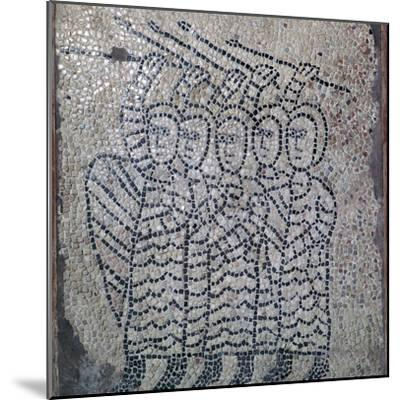 Mosaic of Frankish soldiers of the fourth crusade, 13th century. Artist: Unknown-Unknown-Mounted Giclee Print