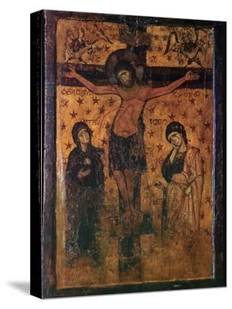 Byzantine icon of the Crucifixion. Artist: Unknown-Unknown-Stretched Canvas Print