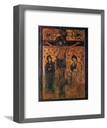 Byzantine icon of the Crucifixion. Artist: Unknown-Unknown-Framed Giclee Print