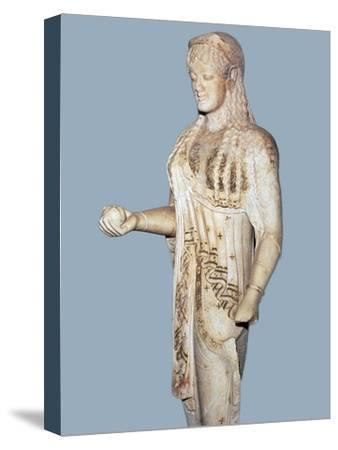 Greek statue of a Kore from the Acropolis, 5th century BC. Artist: Unknown-Unknown-Stretched Canvas Print