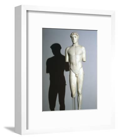 Greek statue known as the Kritios Boy, 5th century BC. Artist: Unknown-Unknown-Framed Giclee Print