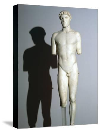 Greek statue known as the Kritios Boy, 5th century BC. Artist: Unknown-Unknown-Stretched Canvas Print