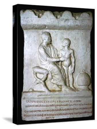 Roman relief of a doctor inspecting a youth. Artist: Unknown-Unknown-Stretched Canvas Print