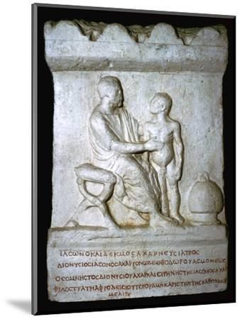 Roman relief of a doctor inspecting a youth. Artist: Unknown-Unknown-Mounted Giclee Print
