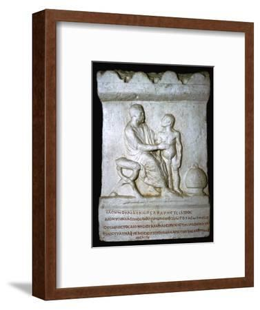 Roman relief of a doctor inspecting a youth. Artist: Unknown-Unknown-Framed Giclee Print