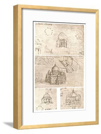 Four drawings of ecclesiastical architecture, c1472-c1519 (1883)-Leonardo da Vinci-Framed Giclee Print