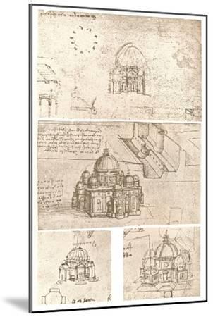 Four drawings of ecclesiastical architecture, c1472-c1519 (1883)-Leonardo da Vinci-Mounted Giclee Print