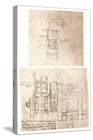 Two architectural drawings, c1472-c1519 (1883)-Leonardo da Vinci-Stretched Canvas Print