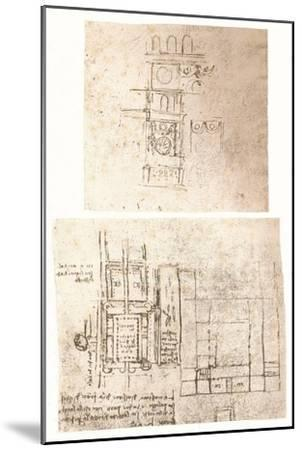 Two architectural drawings, c1472-c1519 (1883)-Leonardo da Vinci-Mounted Giclee Print