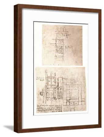 Two architectural drawings, c1472-c1519 (1883)-Leonardo da Vinci-Framed Giclee Print
