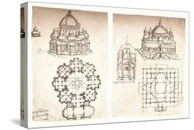 Two drawings of churches, c1472-c1519 (1883)-Leonardo da Vinci-Stretched Canvas Print