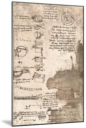 Drawing of musical instruments and other objects, c1472-c1519 (1883)-Leonardo da Vinci-Mounted Giclee Print