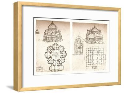 Two drawings of churches, c1472-c1519 (1883)-Leonardo da Vinci-Framed Giclee Print