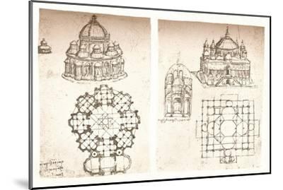 Two drawings of churches, c1472-c1519 (1883)-Leonardo da Vinci-Mounted Giclee Print