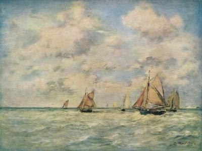 'Sortie Des Barques A Trouville', 19th century-Eugene Louis Boudin-Framed Giclee Print