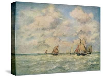 'Sortie Des Barques A Trouville', 19th century-Eugene Louis Boudin-Stretched Canvas Print