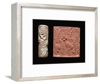 Early Sumerian cylinder-seal and impression-Unknown-Framed Giclee Print