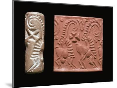 Early Sumerian cylinder-seal and impression-Unknown-Mounted Giclee Print