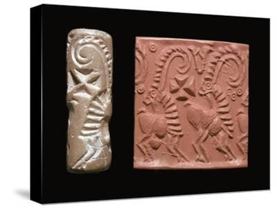 Early Sumerian cylinder-seal and impression-Unknown-Stretched Canvas Print