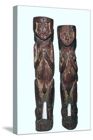 Wooden figures of men and women from north-east Peru-Unknown-Stretched Canvas Print