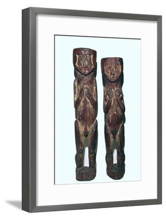 Wooden figures of men and women from north-east Peru-Unknown-Framed Giclee Print