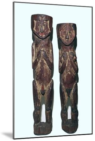 Wooden figures of men and women from north-east Peru-Unknown-Mounted Giclee Print