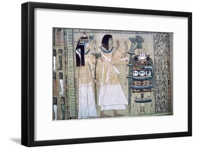 Depiction of a man and his wife making offerings to Osiris-Unknown-Framed Giclee Print