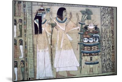 Depiction of a man and his wife making offerings to Osiris-Unknown-Mounted Giclee Print