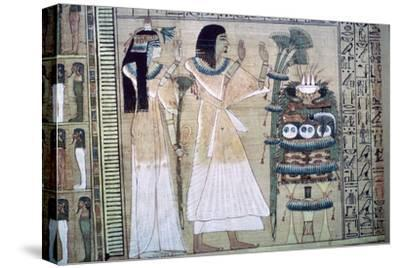 Depiction of a man and his wife making offerings to Osiris-Unknown-Stretched Canvas Print