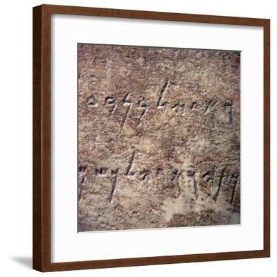 Phoenician inscription, fragment of a marble pedestal, 4th century BC-Unknown-Framed Giclee Print