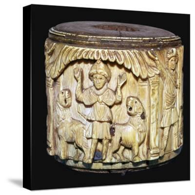 Ivory box showing Daniel in the lions den, 6th century-Unknown-Stretched Canvas Print