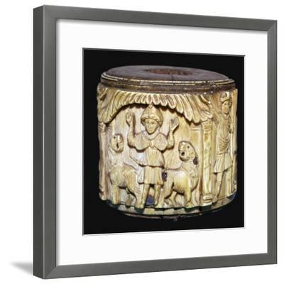 Ivory box showing Daniel in the lions den, 6th century-Unknown-Framed Giclee Print
