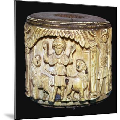 Ivory box showing Daniel in the lions den, 6th century-Unknown-Mounted Giclee Print