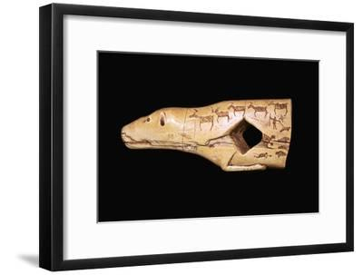 Ivory arrow straightener in the form of a bear with engraved pictographs-Unknown-Framed Giclee Print