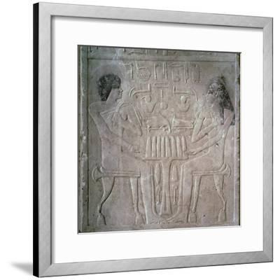 Egyptian funerary stele of a Royal Priest and his wife-Unknown-Framed Giclee Print