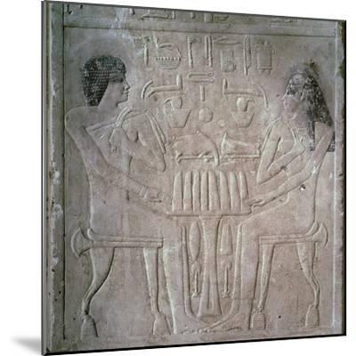 Egyptian funerary stele of a Royal Priest and his wife-Unknown-Mounted Giclee Print