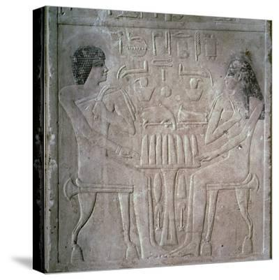 Egyptian funerary stele of a Royal Priest and his wife-Unknown-Stretched Canvas Print