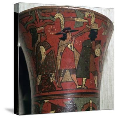 Incan beaker showing Spaniards and Peruvians, c.17th century-Unknown-Stretched Canvas Print