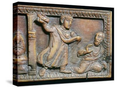 Ivory panel showing the stoning of St Paul, 4th century-Unknown-Stretched Canvas Print