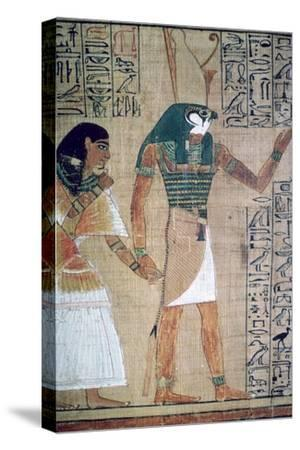 Detail from the Book of the Dead of Ani; sheet 4-Unknown-Stretched Canvas Print